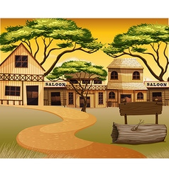 Western town with road and buildings vector