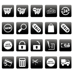 White shopping icons on black squares vector image vector image