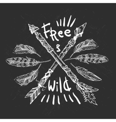 Wild and Free poster vector image