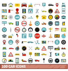100 car icons set flat style vector