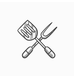 Kitchen spatula and big fork sketch icon vector image