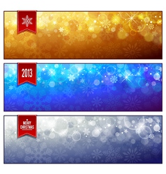 Set of horizontal luminous christmas banners vector