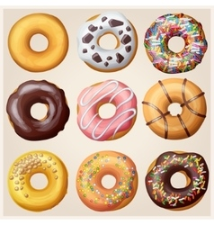 Set of cartoon donuts vector