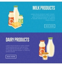 Milk and dairy products website templates vector