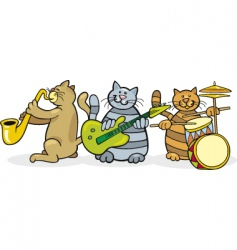 Cats in a band vector