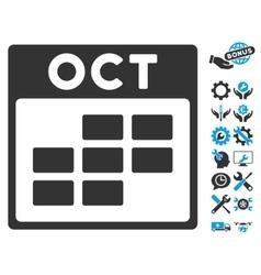 October Calendar Grid Icon With Bonus vector image