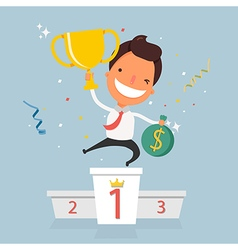Businessman proudly standing on the winning podium vector