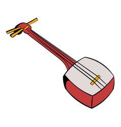 traditional japanese shamisen icon cartoon vector image