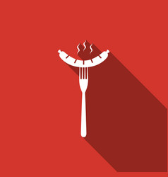 Sausage on fork flat icon with long shadow vector