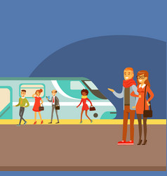 Couple waiting for train arrival on platform part vector