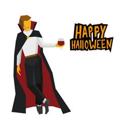 Standing vampire with wineglass in hand vector