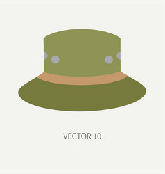 Line tile color hunt and camping icon hat vector