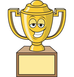 Cartoon smiling trophy vector