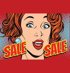 sale comic text pop art woman vector image