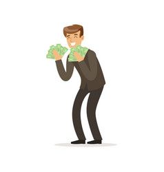 Happy rich successful businessman character with a vector