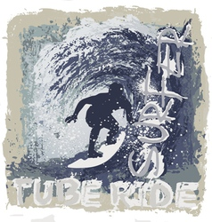 surfing tube ride vector image