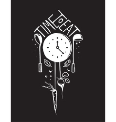 Time to eat sign and label monochrome design on vector