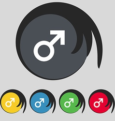 Male sex icon sign symbol on five colored buttons vector