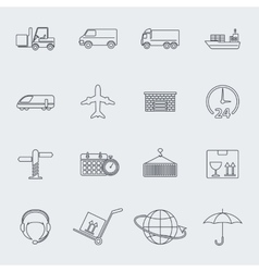 Transportation line icon set vector