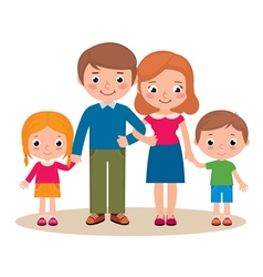 Family portrait of parents and their children vector