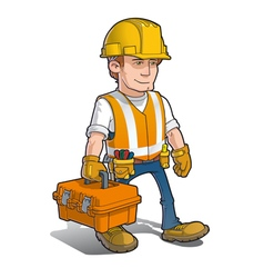 Construction worker carying toolkit vector