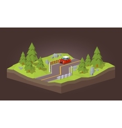 Cube world red car traveling on the road vector