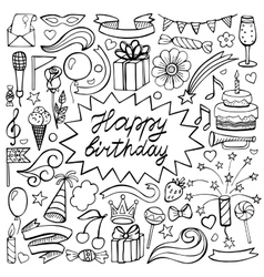 Happy birthday hand drawn set vector