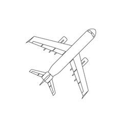 Airplane flat icon and logo outline vector