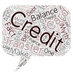 Balance transfer credit card facts and myths text vector