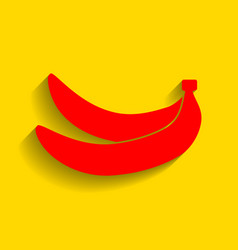 Banana simple sign red icon with soft vector