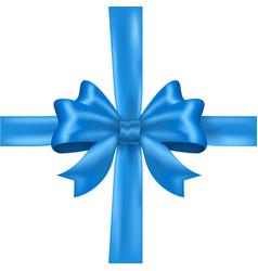 blue silk ribbon bow vector image vector image