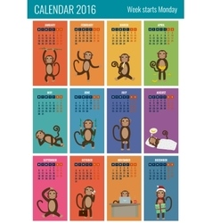 Calendar for 2016 with chinese zodiac Monkey vector image vector image