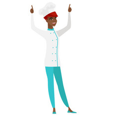 Chef cook standing with raised arms up vector