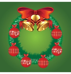 Decorated christmas wreath vector