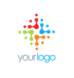 Dot colorful circle technology logo vector