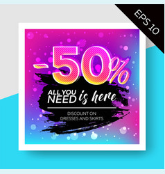 expressive sale template with watercolor splash vector image vector image