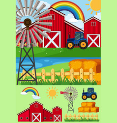 Farm scenes with windmill and hay vector