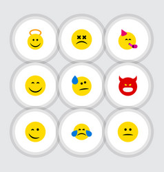 flat icon emoji set of party time emoticon vector image