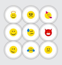 flat icon emoji set of party time emoticon vector image