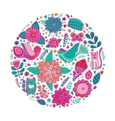 Floral circle with doodles flowers round shape vector