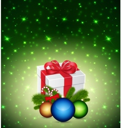 Gift with christmas balls vector image vector image