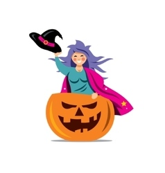 Halloween witch in pumpkin cartoon vector