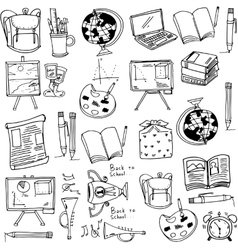 Hand draw education supplies doodles vector