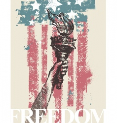 hand of freedom with torch vector image vector image
