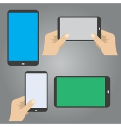 hands hold the phone in horizontal and vertical vector image vector image