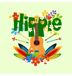 Hippie with guitar and flowers vector image vector image