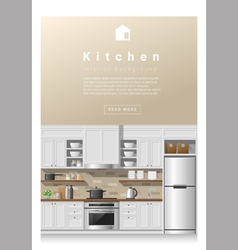 Interior design modern kitchen banner 2 vector