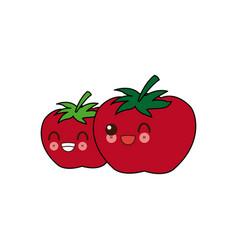Kawaii two ripe tomatoes juicy vegetable cartoon vector