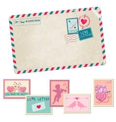 Love letter - vintage postcard vector