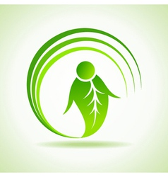 Male icon made by a leaf vector image